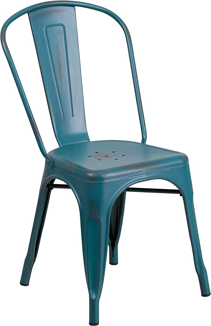 Flash Furniture Commercial Grade Distressed Kelly Blue Teal Metal Indoor Outdoor Stackable Chair Chairs Amazon Com