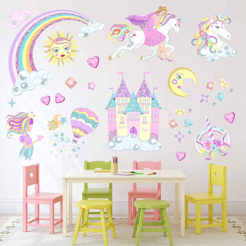 Unicorn Wall Sticker,Unicorn Wall Decals Decor with Sun, Moon Birthday Christmas Gifts for Boys Girls Kids Bedroom Decor Nursery Room Home Decor