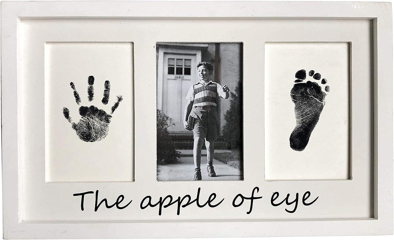 NIKKY HOME Marco de fotos de madera para bebés Memorial de nacimiento Huella de la mano Huella Tinta de seguridad DIY Regalo Hangable Escritorio