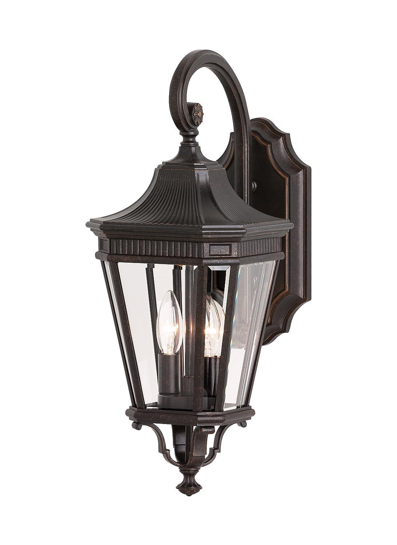 "Feiss OL5401GBZ Cotswold Lane Outdoor Patio Lighting Wall Lantern, Bronze, 2-Light (9""W x 21""H) 120watts"