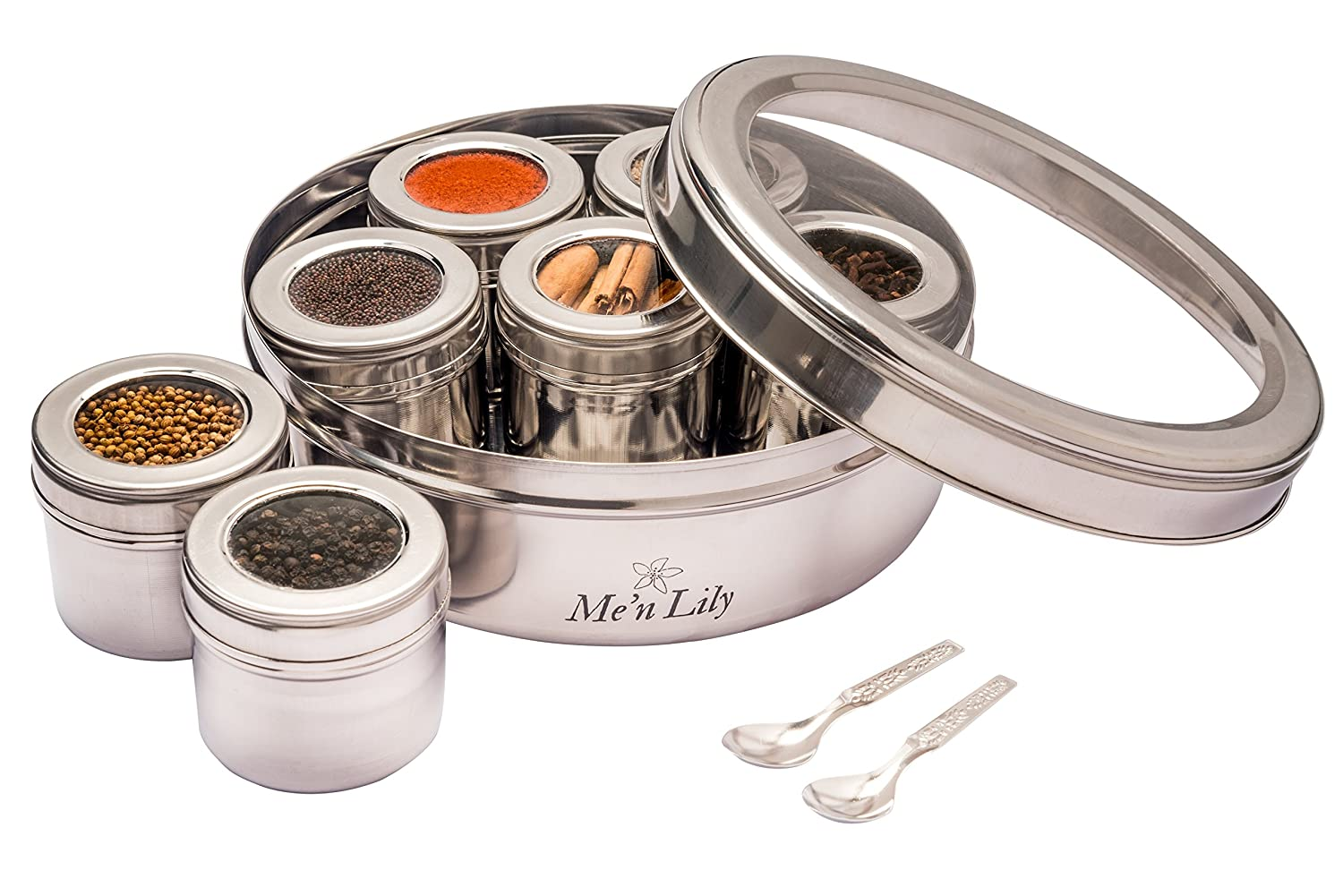 Stainless Steel Masala Dabba or Indian Spice or Tea Box with 7 containers and see through Lids Krish 7.11767E+11