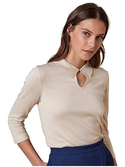 beau look 50% de réduction super promotions Cyrillus Pull Femme col Polo S Ecru: Amazon.fr: Vêtements et ...
