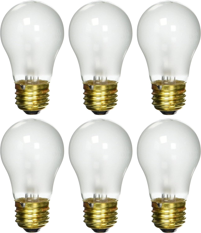 6 Pack 25 Watt Decorative A15 Incandescent Light Bulb Medium E26 Standard Household Base Frost
