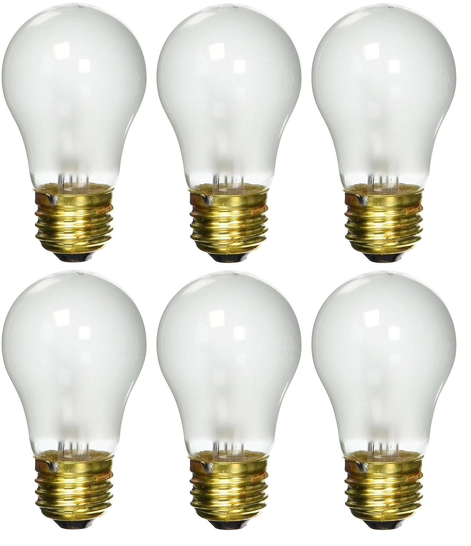 6 pack 15 Watt Decorative A15 Incandescent Light Bulb Medium E26 Standard Household Base Frost