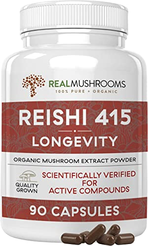 Reishi Extract Mushroom Supplement 90 Caps, 500 mg Vegan Organic Reishi 415 Longervity Capsules, 500mg Organic Reishi Mushroom Capsules, Non-GMO Reishi Mushroom Extract, 45 Day Supply