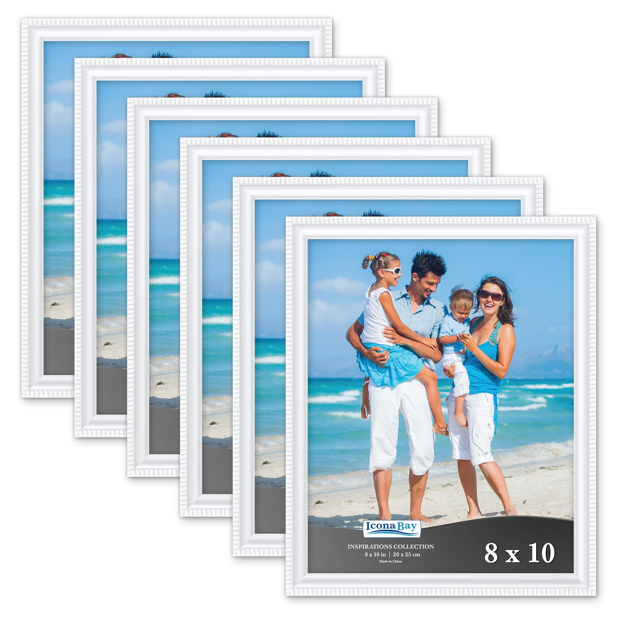 Icona Bay 8x10 Picture Frames (6 Pack, White) Picture Frame Set, Wall Mount or Table Top, Set of 6 Inspirations Collection by Icona Bay