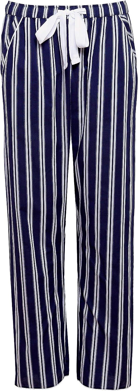 con Parte Superiore e Pantaloni a Righe Cyberjammies Pigiama da Donna in Rasatello di Cotone Colore: Blu Navy e Bianco