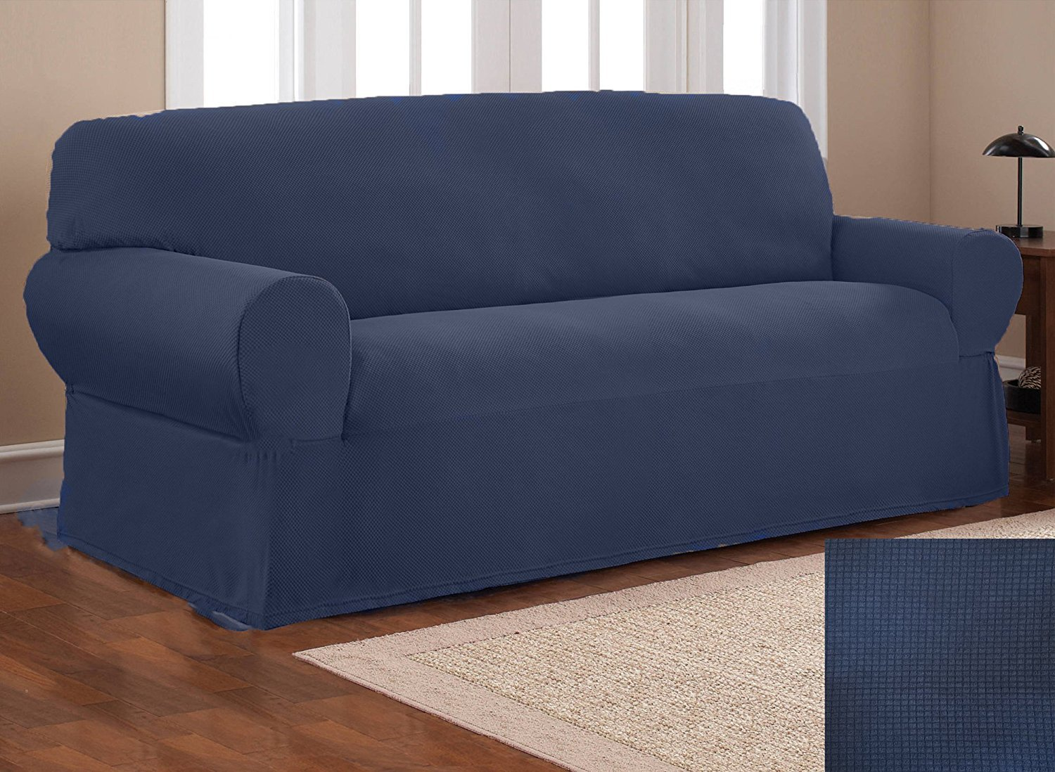 Fancy Collection Sure Fit Stretch Fabric Sofa Slipcover Sofa Cover Solid New #Stella (Navy Blue, 1 pc Sofa)