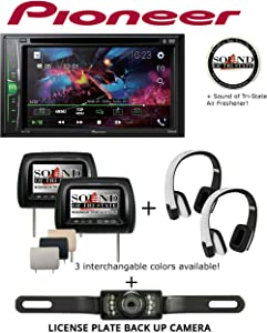"""Sound of Tri-State Pioneer AVH211EX Multimedia Receiver with Two 7"""" LCD Screen Headrest Monitor w/Two 2-Channel Wireless IR Snow White Headphones and License Plate Backup Camera"""