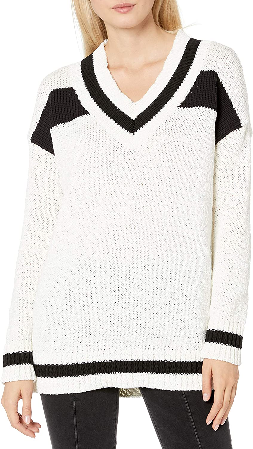 Kendall Kylie Womens Vneck Rugby Sweater
