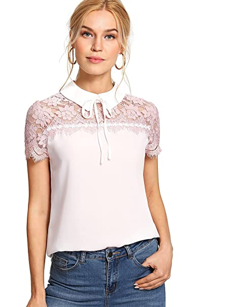 285e253c13f85 Floerns Women s Peter Pan Collar Lace Neck Short Sleeve Blouse Top at  Amazon Women s Clothing store