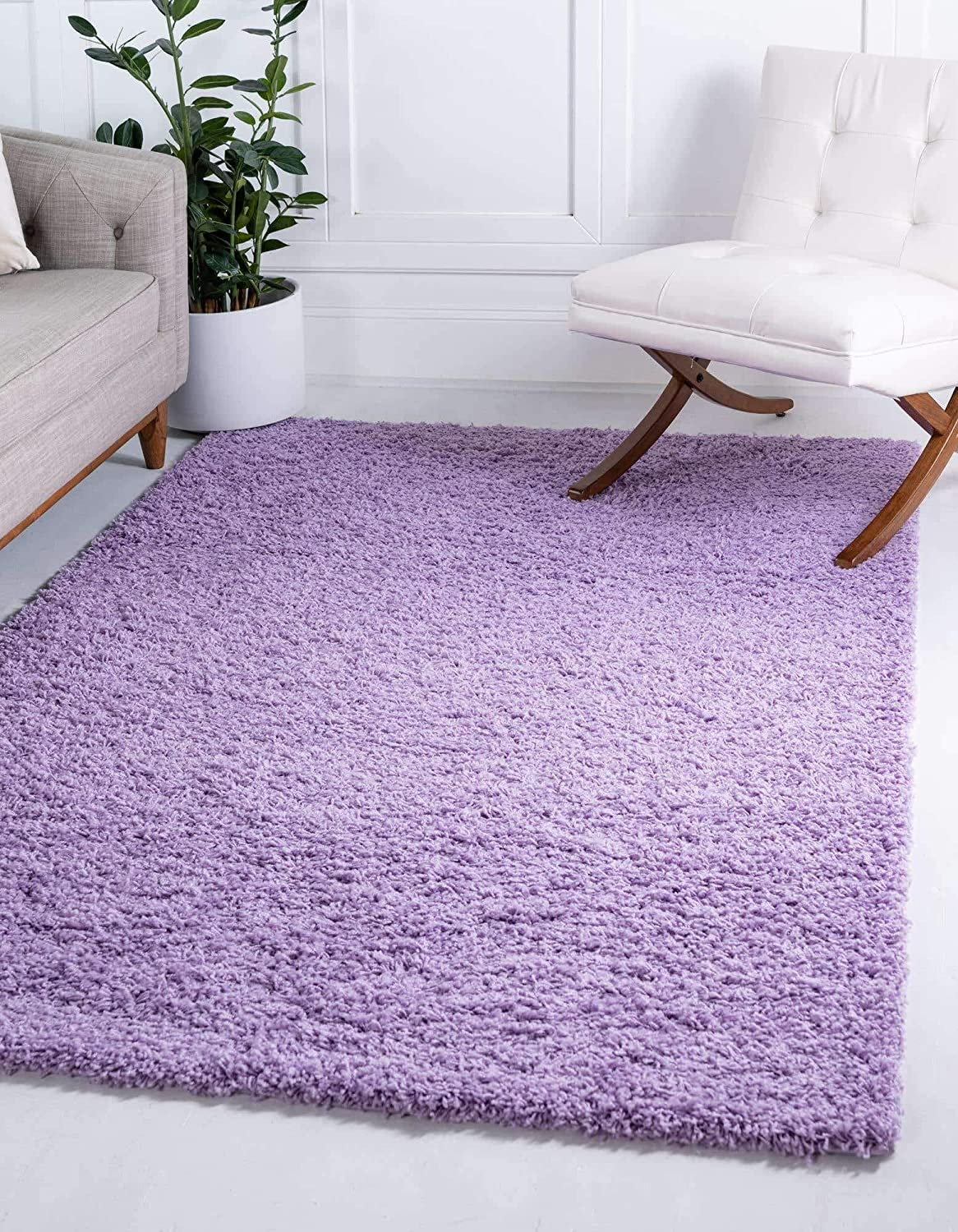 Unique Loom Solo Solid Shag Collection Modern Plush Lilac Area Rug (3' 3 x 5' 3)