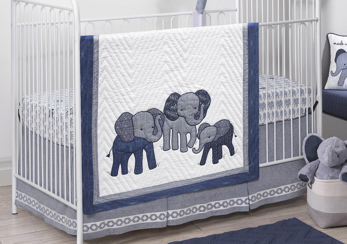 Lambs & Ivy 3-Piece Crib Bedding Set, Blue/White