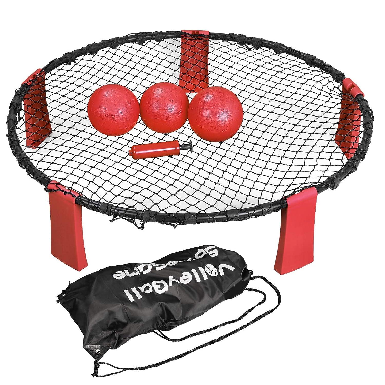 Nova Microdermabrasion スパイクバトルボールゲームセット バウンスゲーム 屋外屋内ゲーム 庭 芝生 ビーチ テールゲート ボール3個、キャリーケース、ルールブック付き (レッド) B07G9FC6Q3