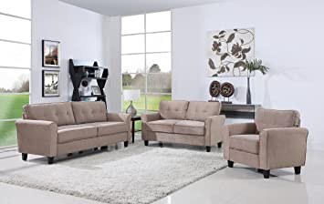 classic living room furniture set sofa love seat accent chair hazelnut - Classic Living Room Sets