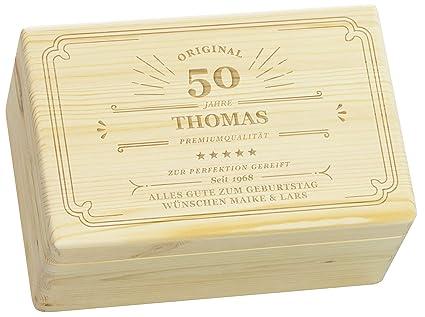 laublust Caja de Madera con Grabado – Personalizado con con ✪ Nombre | Edad | widmung
