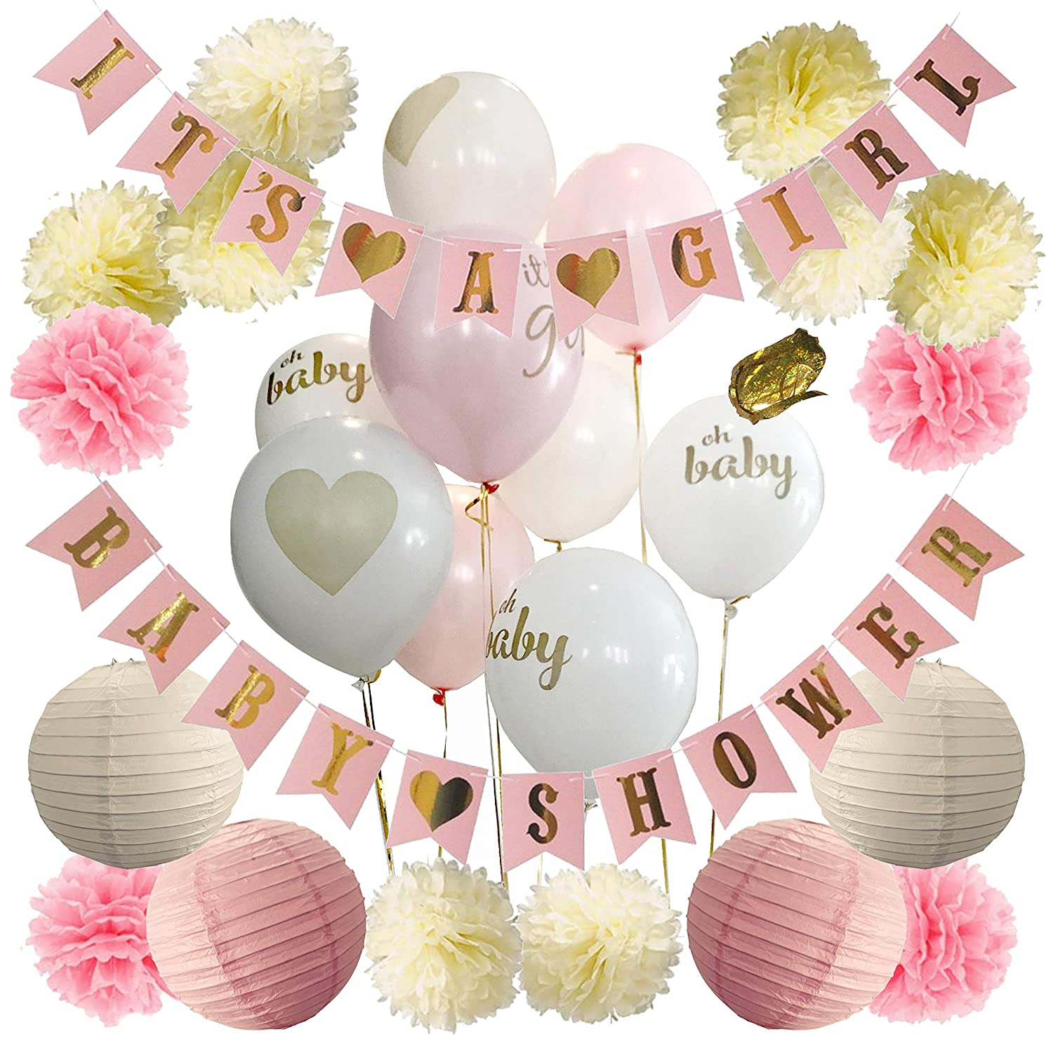 Baby Shower Decorations For Girl - Baby Shower Decorations: It's a Girl & Baby  Shower Banner, Baby Girl Shower Decorations Kit with Banners, Balloons, ...