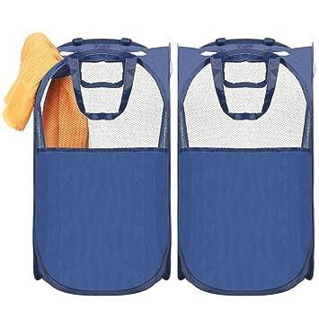 Amazon Marke: Umi. Essentials Pop-up Wäschekorb Faltbare Wäschebox,  Wäschesammler in 2er Pack, Wäschetonne Wäschesortierer für Reise, Blau