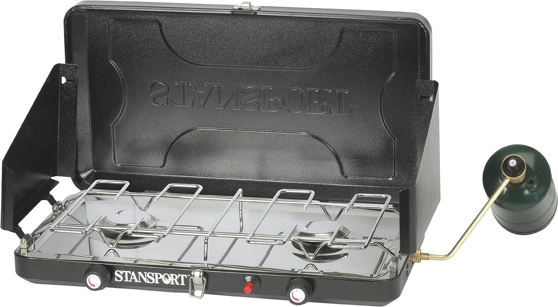 Stansport Two Burner-Piezo Igniter High Output 12,000 BTU Propane Stove, Black