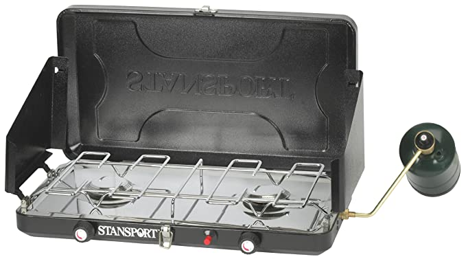Stansport Two Burner-Piezo Igniter High Output 12,000 BTU Propane Stove, Black