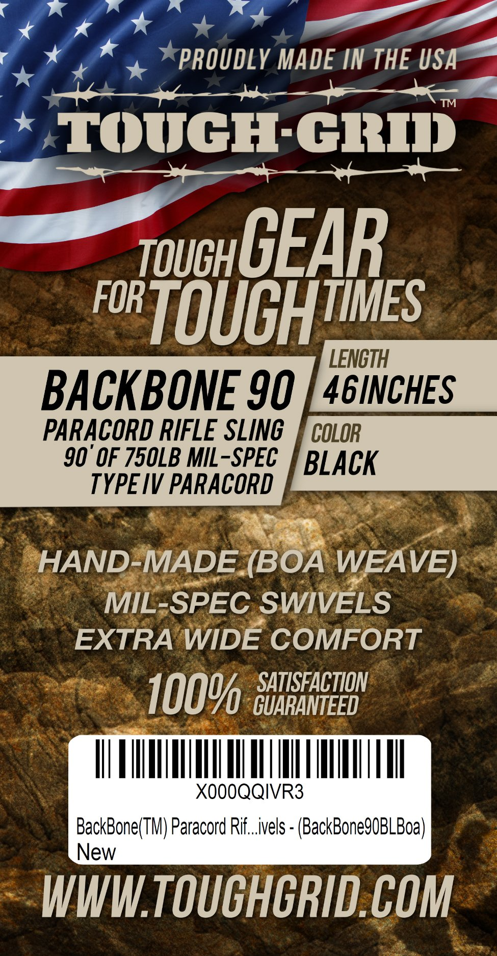 TOUGH-GRID BackBone Paracord Rifle Sling made with Mil-Spec 750lb Type IV Paracord and Swivels, Black by TOUGH-GRID (Image #4)