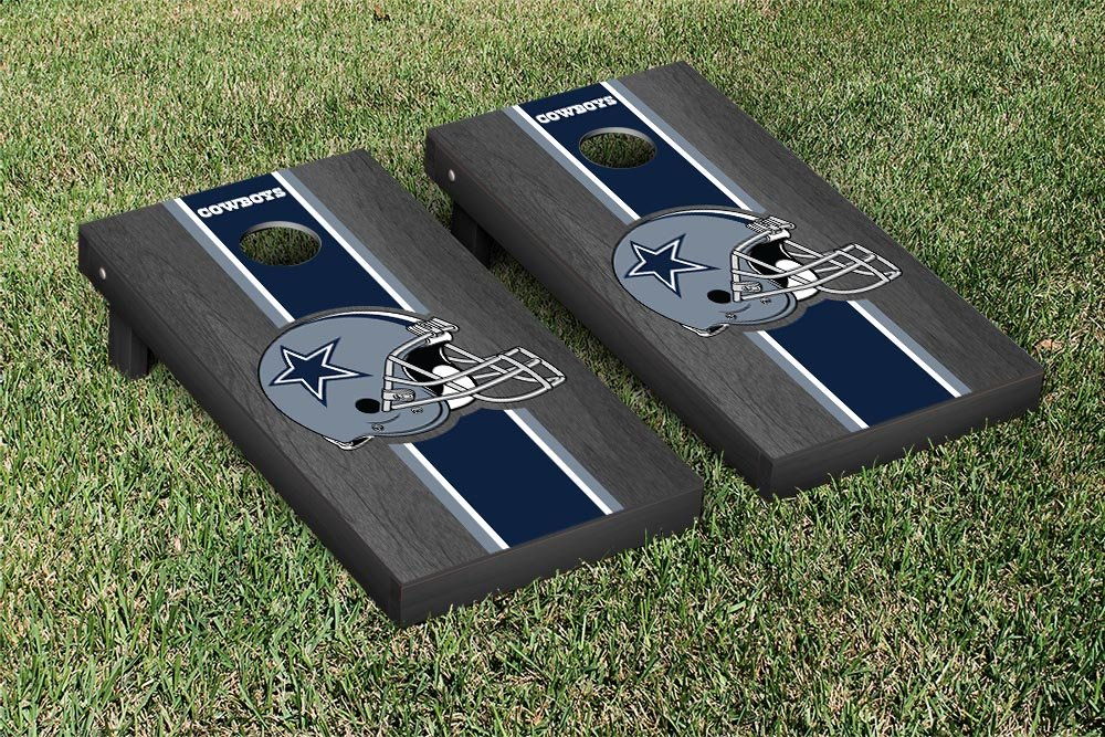 NFL Dallas Cowboys Onyx Stained Stripe Version Football Cornhole Game Set, 24'' x 48'', Multicolor by Victory Tailgate (Image #1)