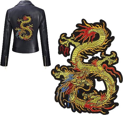 Parche bordado con diseño de dragón dorado de Kissbuty, para coser ...