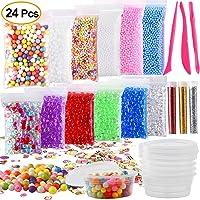 Kuuqa 24 Pack Slime Making Kit Including Micro Foam Balls Fishbowl Beads Confetti Fruit Slices Slime Tools for DIY Homemade Slime