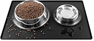 Cooma Dog Cat Pet Feeding Mat, Silicone Waterproof Dishwasher Safe Food Mat M, L- 0.4inch Raised Edges, Non Slip Bowl Tray to Stop Food Spills and Water Messes Out to Floor (L (23.6