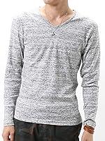 (アーケード) ARCADE Vネック カットソー Tシャツ メンズ ロンT 長袖 杢調ボーダー ロングTシャツ