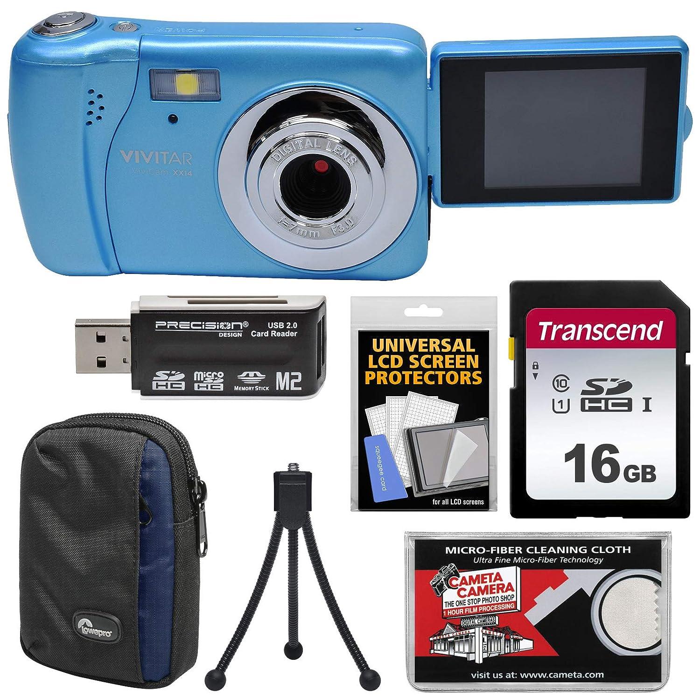 Vivitar ViviCam VXX14 自撮りデジタルカメラ(ブルー)16GBカード+ケース+三脚+リーダー+キット付き   B071YQBX5W