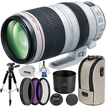 Canon EF 100-400mm f/4 5-5 6 L is II USM Telephoto Zoom Lens with 3 Filters  + Tripod + Kit for EOS 6D, 70D, 7D 5D Mark II III, Rebel T3, T3i, T4i, T5,