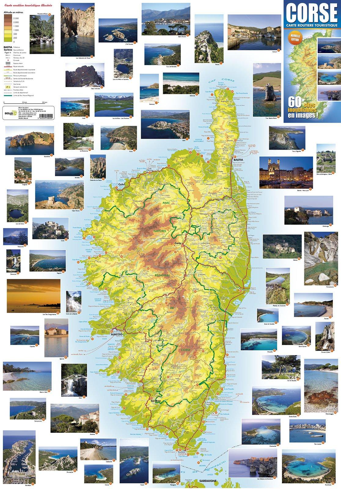 Carte Corse Touristique.Amazon Fr Corse Carte Routiere Touristique Illustree