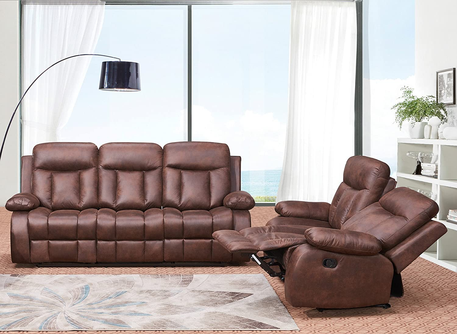 Betsy Furniture 2-PC Microfiber Fabric Recliner Set Living Room Set in Brown Sofa Loveseat Chair Pillow Top Backrest and Armrests 8028-32