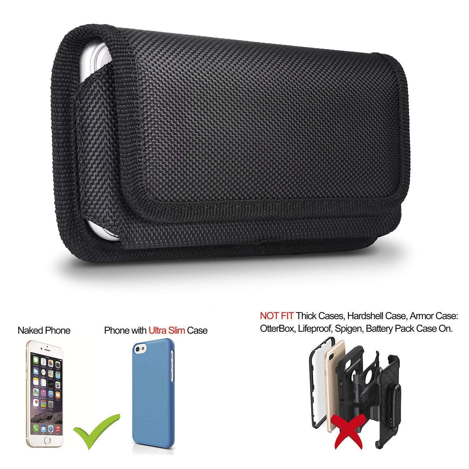 pretty nice 1252d 31bb4 2 Pack Belt Pouch Case for iPhone 8 Plus 7 Plus 6S Plus 6 Plus, miadore  Rugged Nylon Horizontal Phone Holster and Vertical Phone Holder with Belt  Clip ...