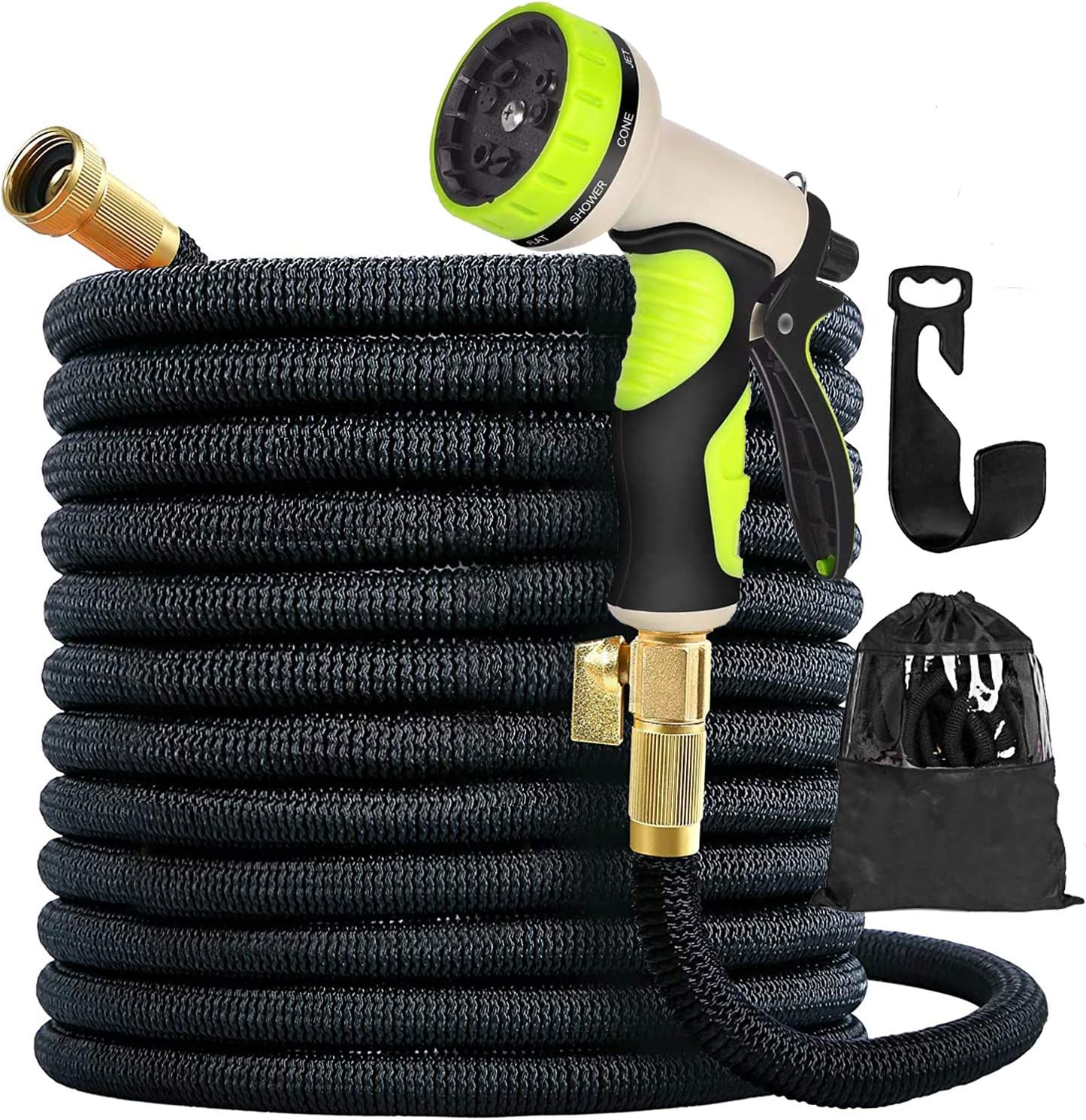 100ft New Expandable Garden Hose - Superior Strength 3750D, 4-Layers Latex with 3/4