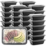 """50-Pack Meal Prep Plastic Microwavable Food Containers meal prepping & Lids.""""{24 OZ.}"""" Black Rectangular Reusable Storage Lun"""