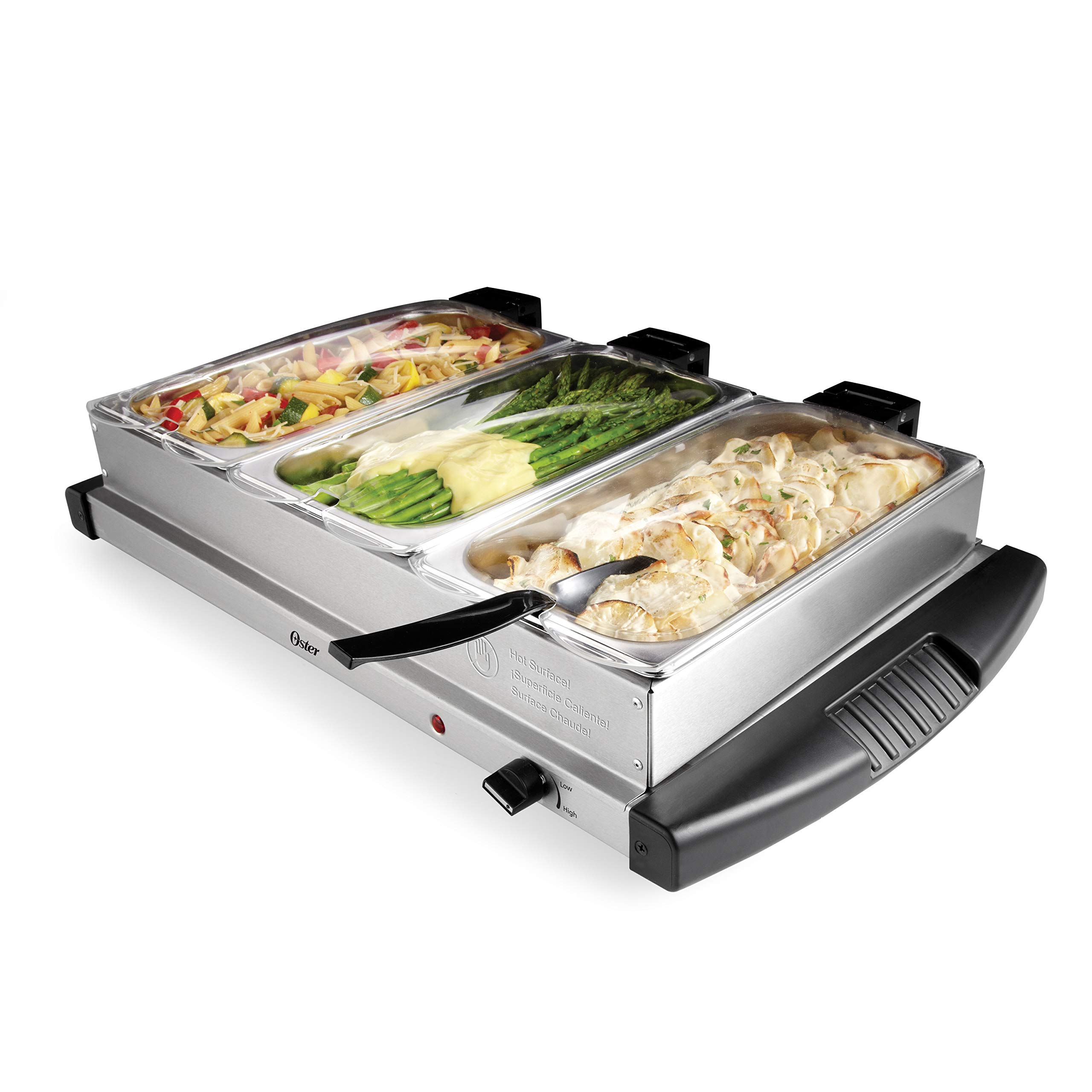 Oster Buffet Server, Triple Tray, 2-1/2 Quart, Stainless Steel (CKSTBSTW00-NP1)