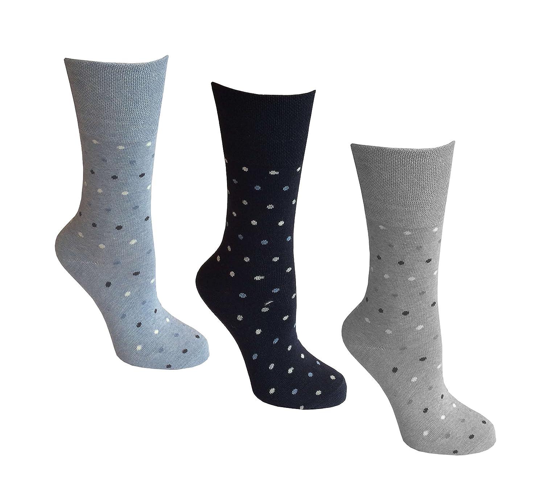 3paia di calzini da donna, impugnatura comfort, 4–8UK, 37–42EU, luce Hold a nido d' ape Top, ideale Calze senza elastico 4-8UK 37-42EU MY-GSQE-F3QW
