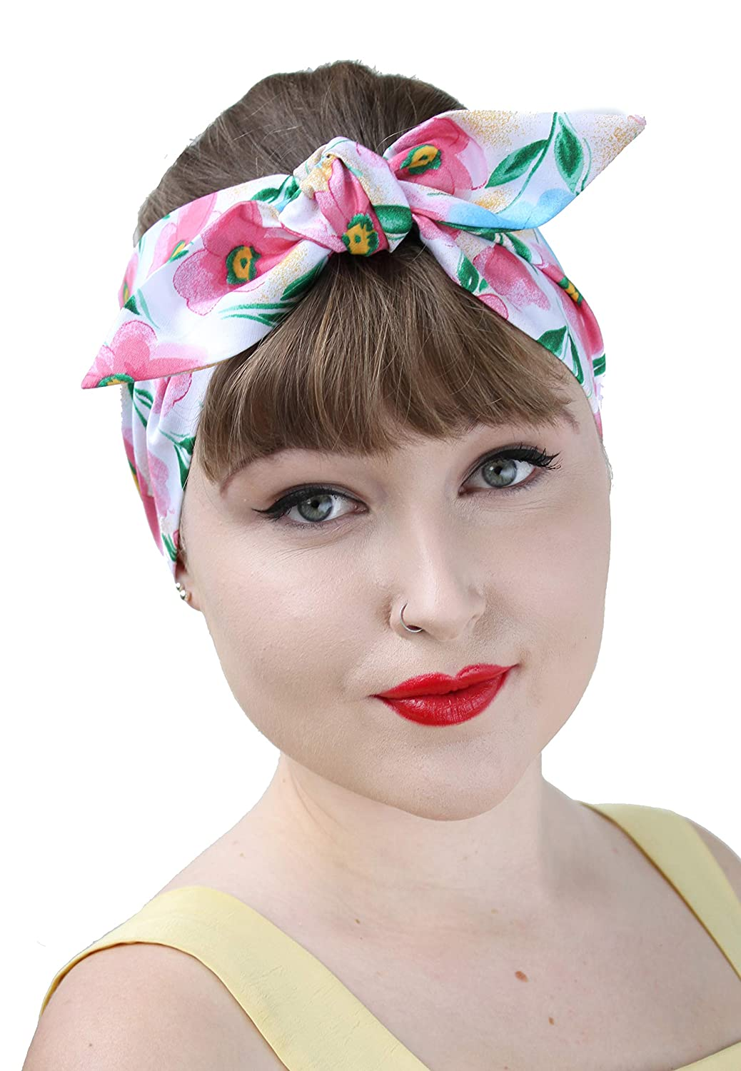Pink Floral Vintage 50s Style Pin Up Bow Head Scarf Bandana