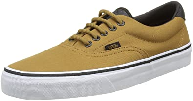 Vans Era 59 Canvas Military Fashion Sneakers, Iron Brown/White, 3.5 Men/