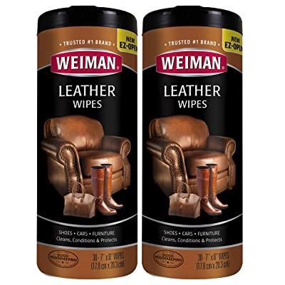 Weiman Leather Wipes - 2 Pack - Clean Condition UV Protection Help Prevent Cracking or Fading of Leather Couches, Car Seats, Shoes, Purses: Home & Kitchen