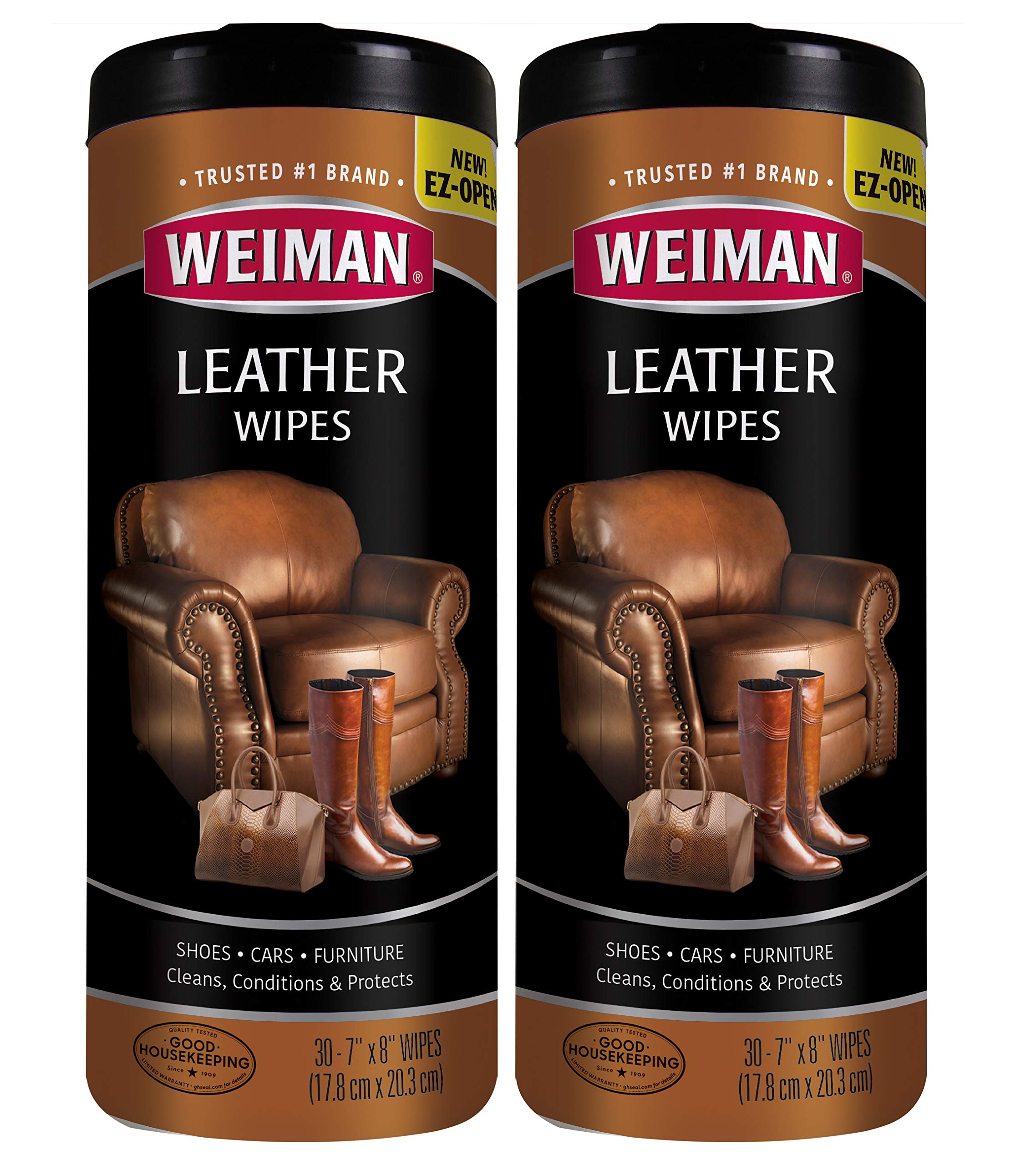 Weiman Leather Wipes for Furniture - 2 Pack - Non Toxic Formula Cleans and Conditions Car Seats, Shoes, Couches and More - 30 Wipes by Weiman