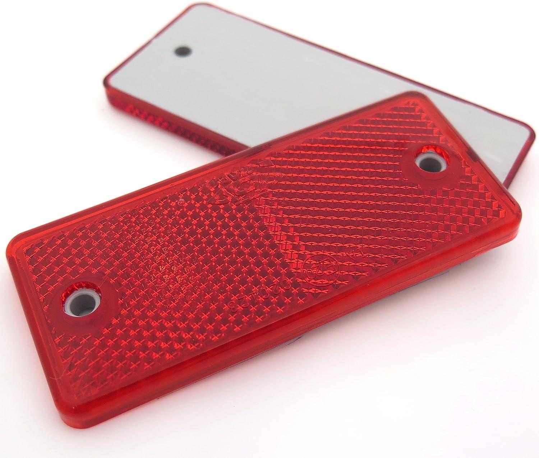 10 X Rot Rechteck Rückstrahler Für Anhänger Wohnwagen Torpfosten E Geprüft Auto
