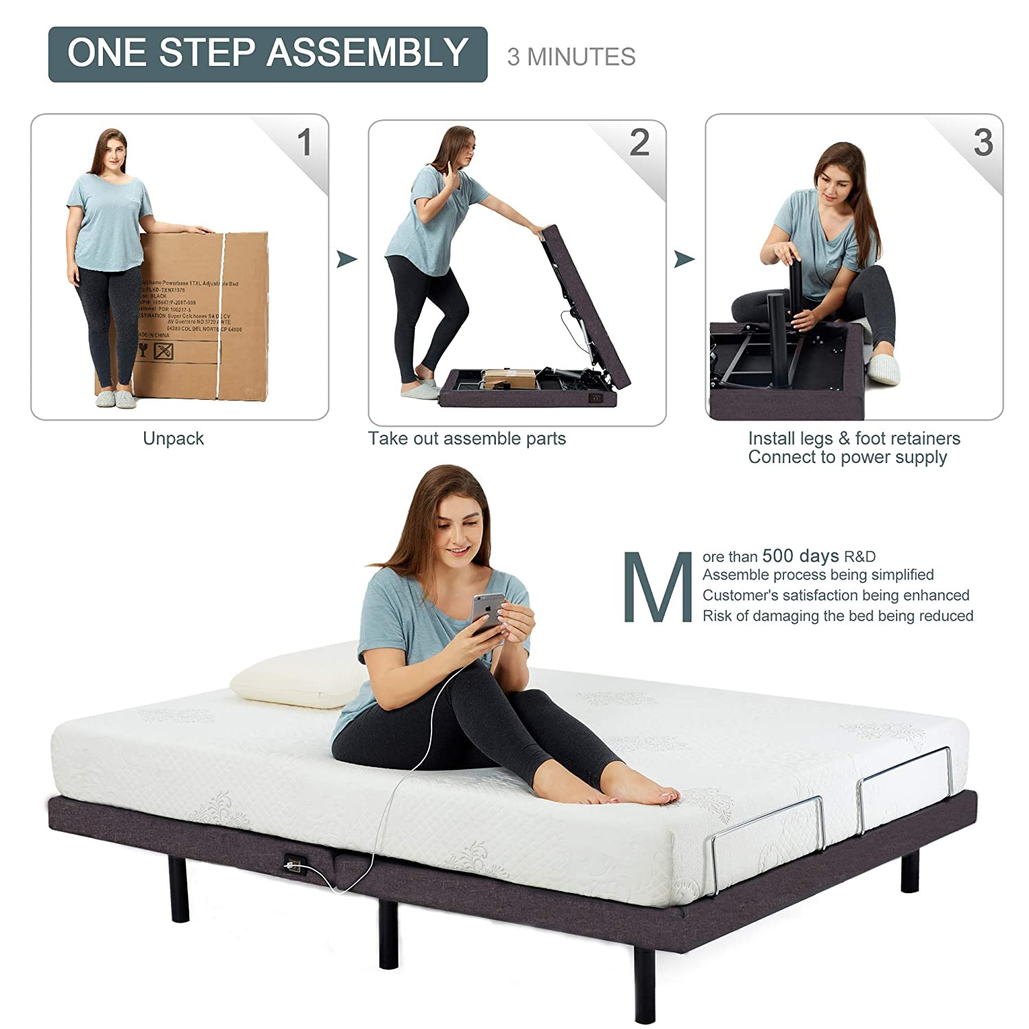 HOFISH 2S Wired Mesh Layer Adjustable Bed Base - One-Step Assembly Twin XL Adjustable Bed Base with Backlit Wireless Remote, USB Port Twin XL