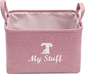 Morezi Canvas Pet Toy and Accessory Storage Bin, Basket Chest Organizer - Perfect for Organizing Pet Toys, Blankets, Leashes and Food - Dog - Pink - M