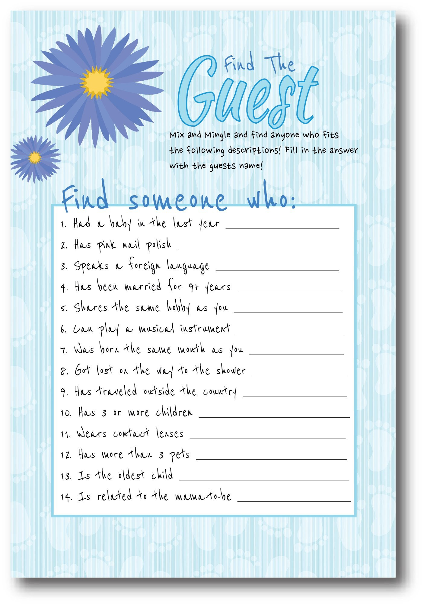 Baby Shower Games For Boys | By L&P Designs | Blue Baby Boy Party Ideas (Find The Guest, Who Knows Mommy Best, and Mommy or Daddy)