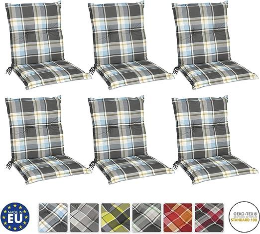 Beautissu Set de 6 Cojines para sillas de Exterior y jardín con Respaldo bajo Sunny BK Azul 100x50x6 cm tumbonas, mecedoras, Asientos cómodo Acolchado Resistente a Rayos UV: Amazon.es: Hogar