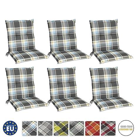 Beautissu Set de 6 Cojines para sillas de Exterior y jardín con Respaldo bajo Sunny BK Azul 100x50x6 cm tumbonas, mecedoras, Asientos cómodo Acolchado ...