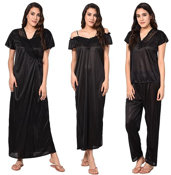 Noty - Nightwear for Women Free Size Combo - 4 Pc Set- Nighty Robe ... fd19ef4a4